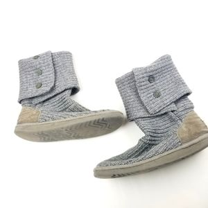 Womens UGG Button Gray Sweater Knit Boots Size 8